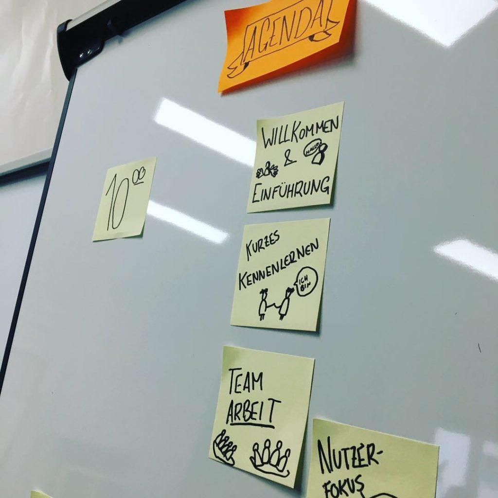 Die Agenda des Design Thinking Workshops auf einer Flipchart.