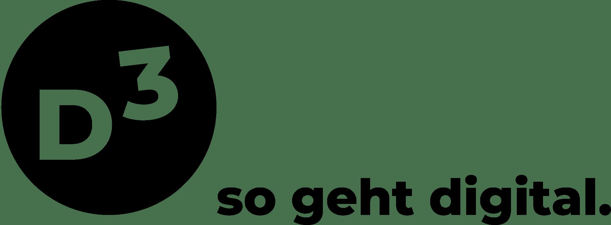 D3 in weißer Schrift in einem schwarzen Kreis, gefolgt von Schriftzug so geht digital.