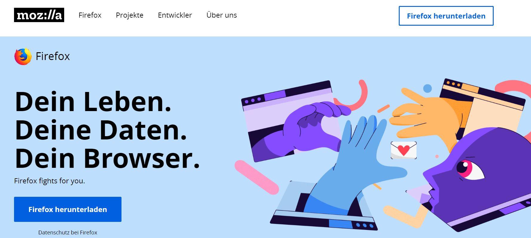 Ein Screenshot der Mozilla-Startseite.