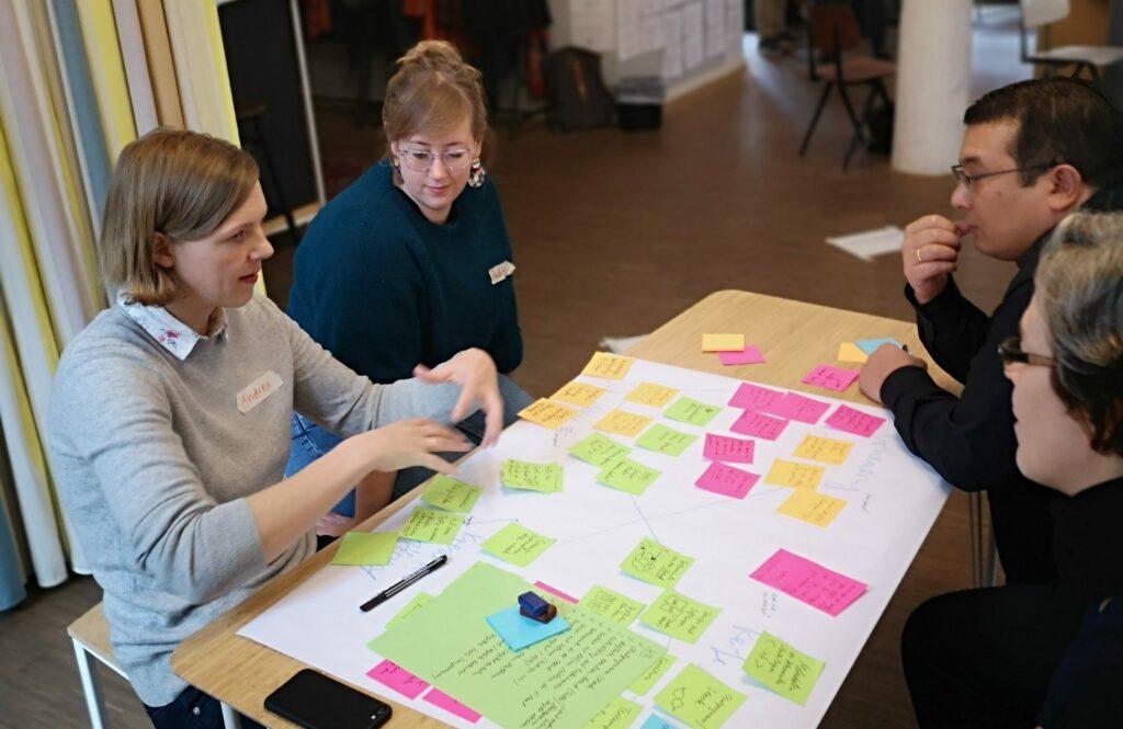 Vier Menschen sitzen an einem Tisch und arbeiten an einem großen Flipchart-Papier, auf dem bunte Post-It-Aufkleber kleben.