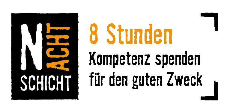 Logo der NACHTSCHICHT von UPJ. Darauf steht Nachtschicht. 8 Stunden Kompetenz spenden für den guten Zweck.