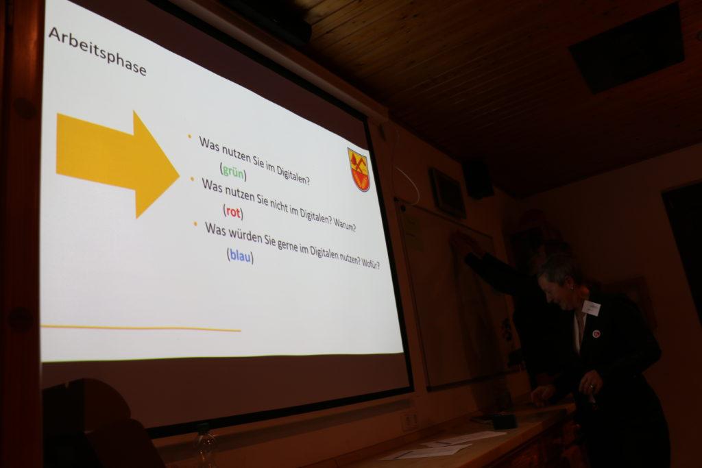 Eine Power-Point-Präsentationsfolie erklärt, wie über die Einführung digitaler Elemente im Dorf mit farbigen Punkten abgestimmt werden kann.