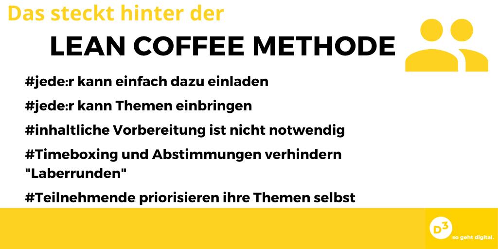"""Texttafel:  Das steckt hinter der Lean Coffee Methode: - jede:r kann einfach dazu einladen - jeder kann Themen einbringen - inhaltliche Vorbereitung ist nicht notwendig -Timeboxing und Abstimmungen verhindern """"Laberrunden"""" Teilnehmende priorisieren ihre Themen selbst"""