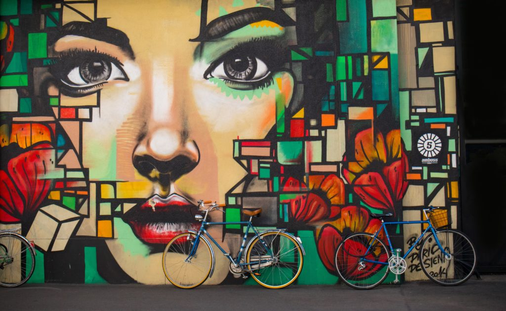 Graffiti eines Frauengesichts