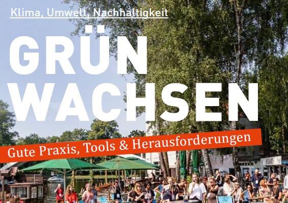 """Man sieht das Cover """"Grün Wachsen. Gute Praxis, Tipps und Herausforderungen"""" von openTransfer. Auf dem Bild sitzen viele Menschen auf der Berliner Insel der Jugend in Liegestühlen beim GreenCamp."""