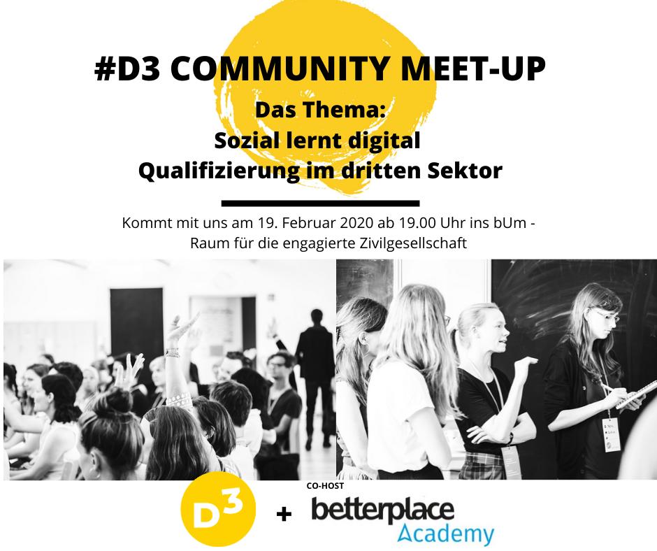 Alle Infos zum D3 Community Meetup in der Übersicht.