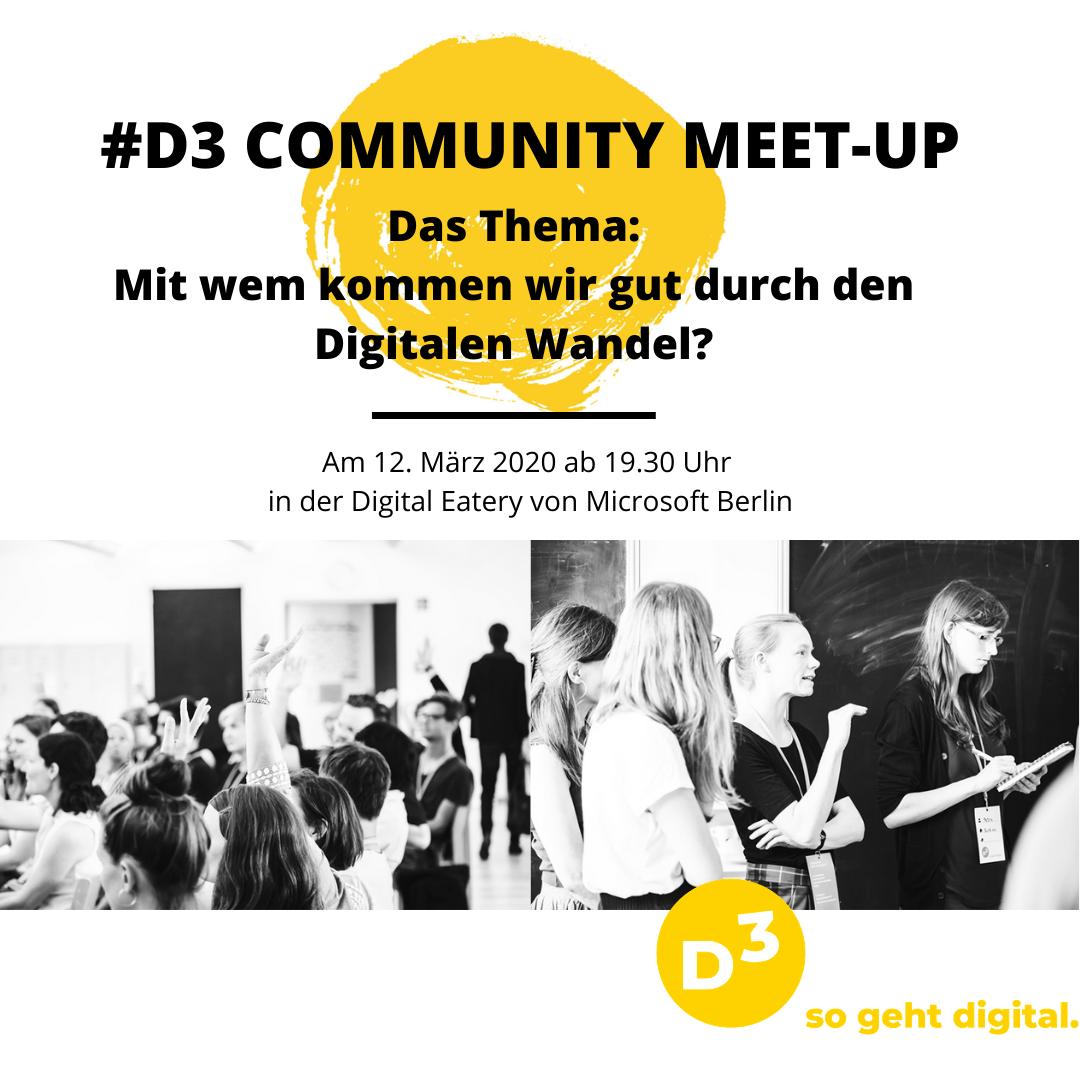 Infografik zeigt neben schwarz-weiss-Fotos vergangener Meet-ups alle Infos: Thema: Wie kommen wir gut durch den digitalen Wandel? Donnerstag 12. März 2020 ab 19.30 in der Digital Eatery von Microsoft Berlin