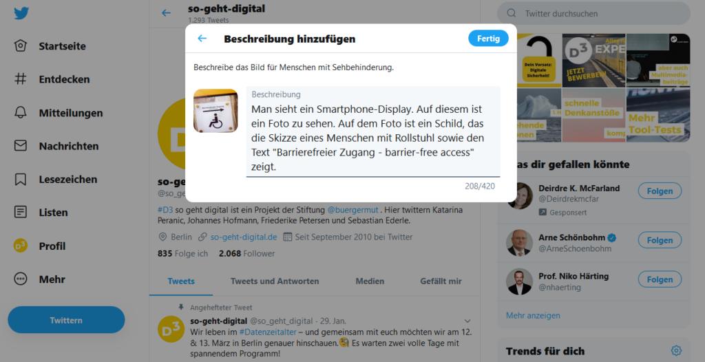 Screenshot des Twitter-Kanals von D3 - so geht digital im Hintergrund. Im Vordergrund befindet sich ein Festern, auf dem gerade eine Bildbeschreibung eingetragen wird.