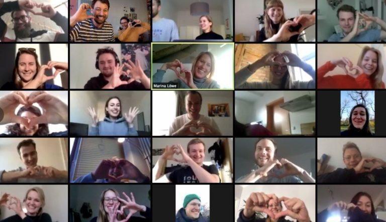 Videomeeting-Aufnahme der Initiator:innen des #WirVSVirus-Hackathons