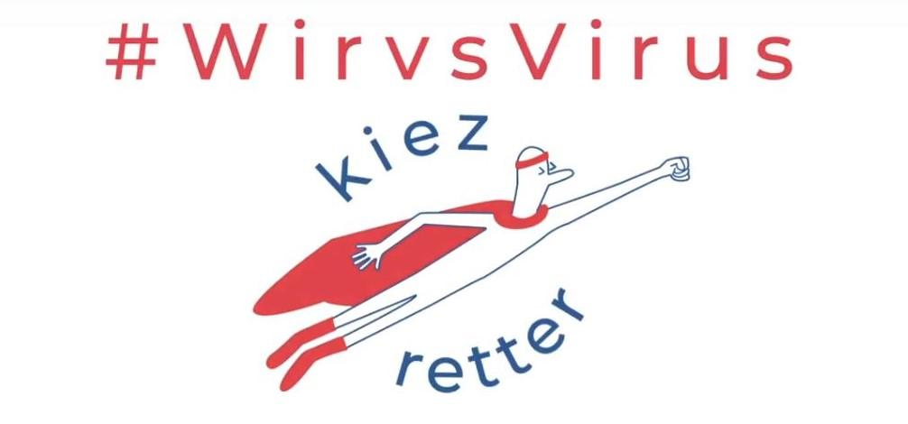 """Weißer Hintergrund. Davor kiezretter-Logo sowie der Text """"#WirVSVirus - kiezretter"""""""