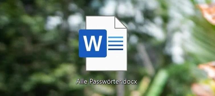 """Desktop-Button eines Word-Dokuments mit dem Titel """"Alle Passwörter.docx""""."""