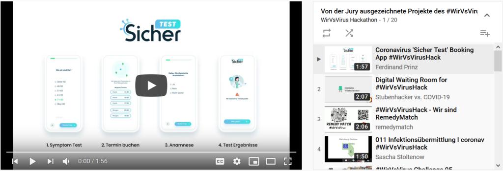Screenshot der Youtube-Playlist mit den 20 besten Projekten des WirVSVirus-Hackathons