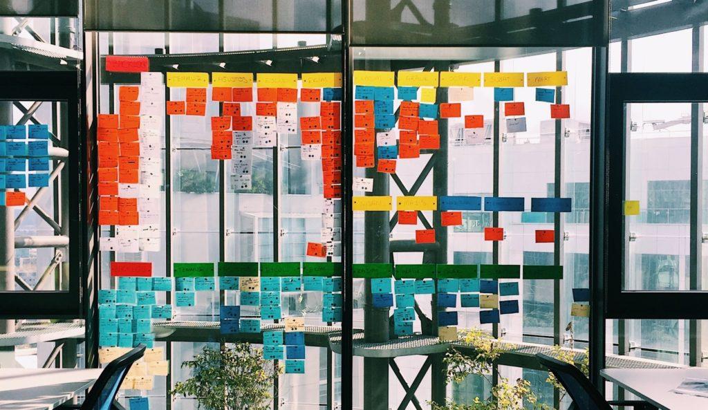 Ein Scrum-Board mit bunten Klebezetteln, die an einer Glaswand hängen.