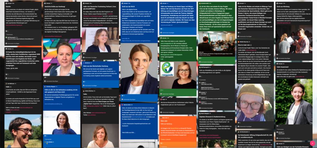 Screenshot der Padlet-Social-Wall des Digital Social Summits mit Teilnehmerinnen-Bildern und Vorstellungstexten (nicht leserlich) in verschiedenen Farben.