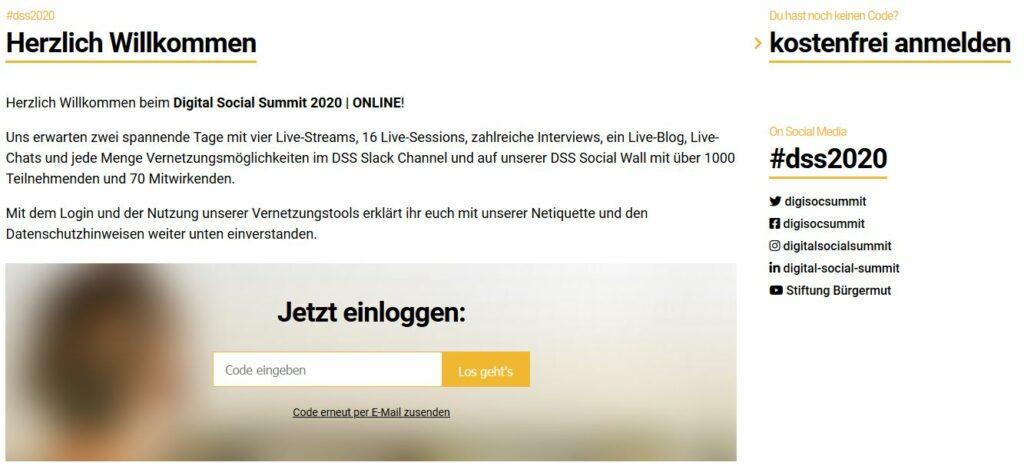 Screenshot der Stream-Seite des Digital Social Summit 2020.