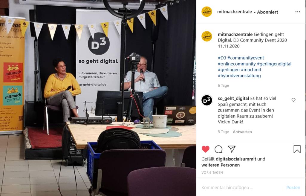 Screenshot eines Instagram-Posts der Mitmachzentrale Gerlingen. Man sieht Uli und Claudia auf einer kleinen Bühne für das D3-Community-Event sitzen, vor ihnen eine Kamera und ein Bildschirm sowie ein Ringlicht. In der Hand halten sie Mikrofone.