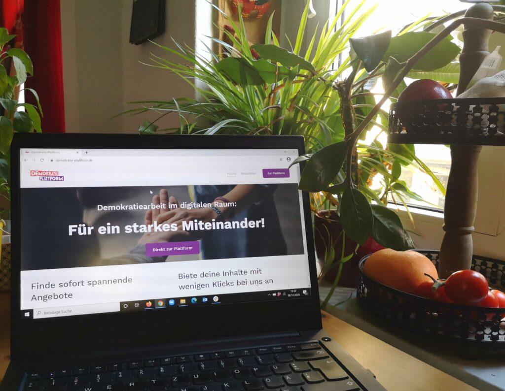 Ein Laptop steht auf einem Tisch, auf ihm ist die Startseite der Demokratie Plattform zu sehen. daneben auf einer Fensterbank Grünpflanzen und eine Obst- und Gemüseschale.