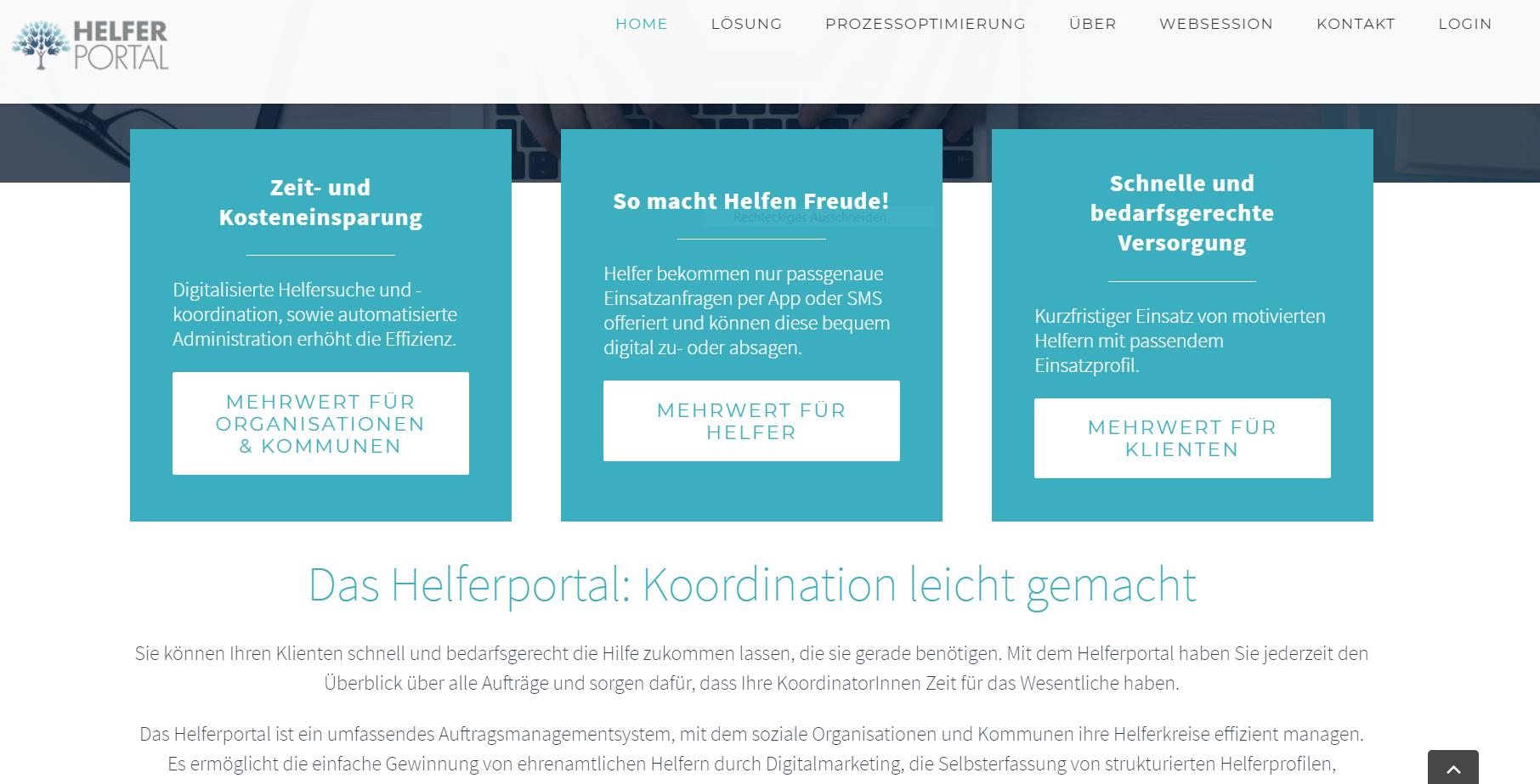 Screenshot von Helferportal.de: Eine Pflege-Plattform, die das Ehrenamt digital vernetzt: