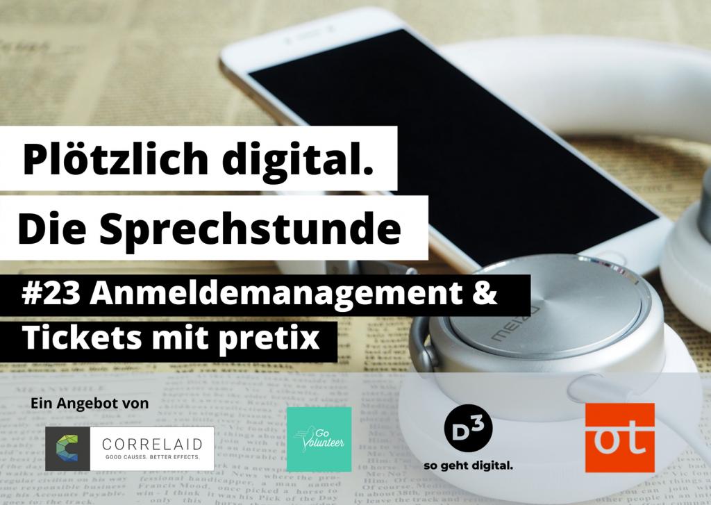 """Foto von Smartphone und Kopfhörern, die auf einer Zeitung liegen. Davor Text: """"#23 Anmeldemanagement und Tickets mit pretix""""."""