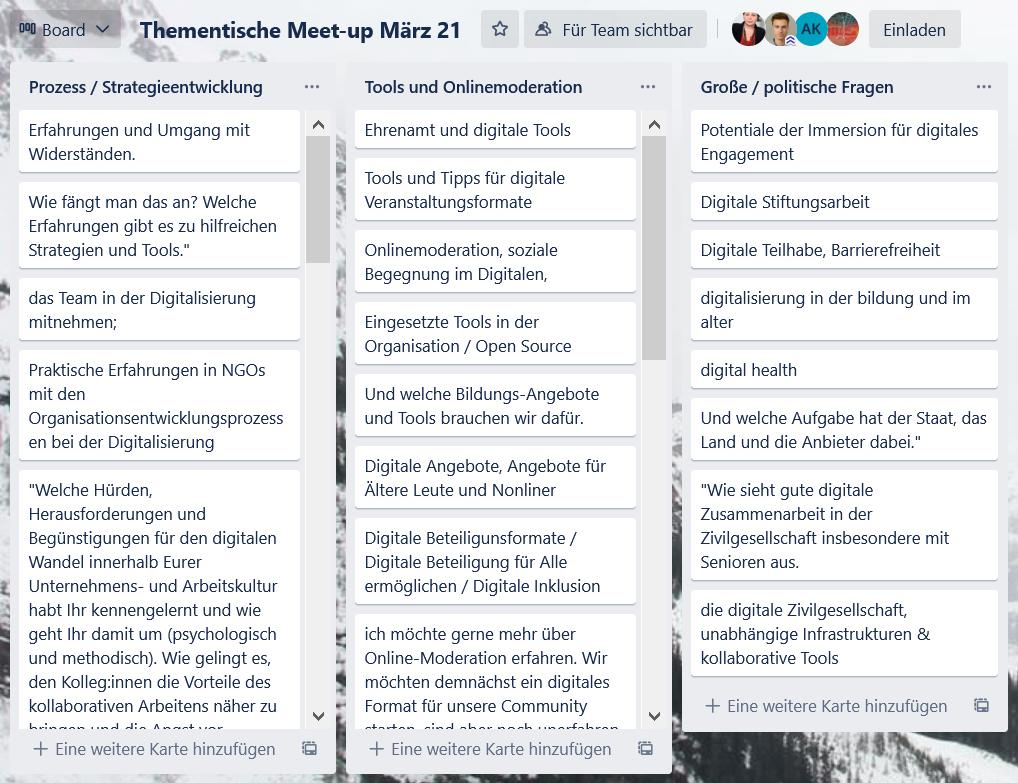 Trelloboard zeigt viele kleine Themenvorschläge