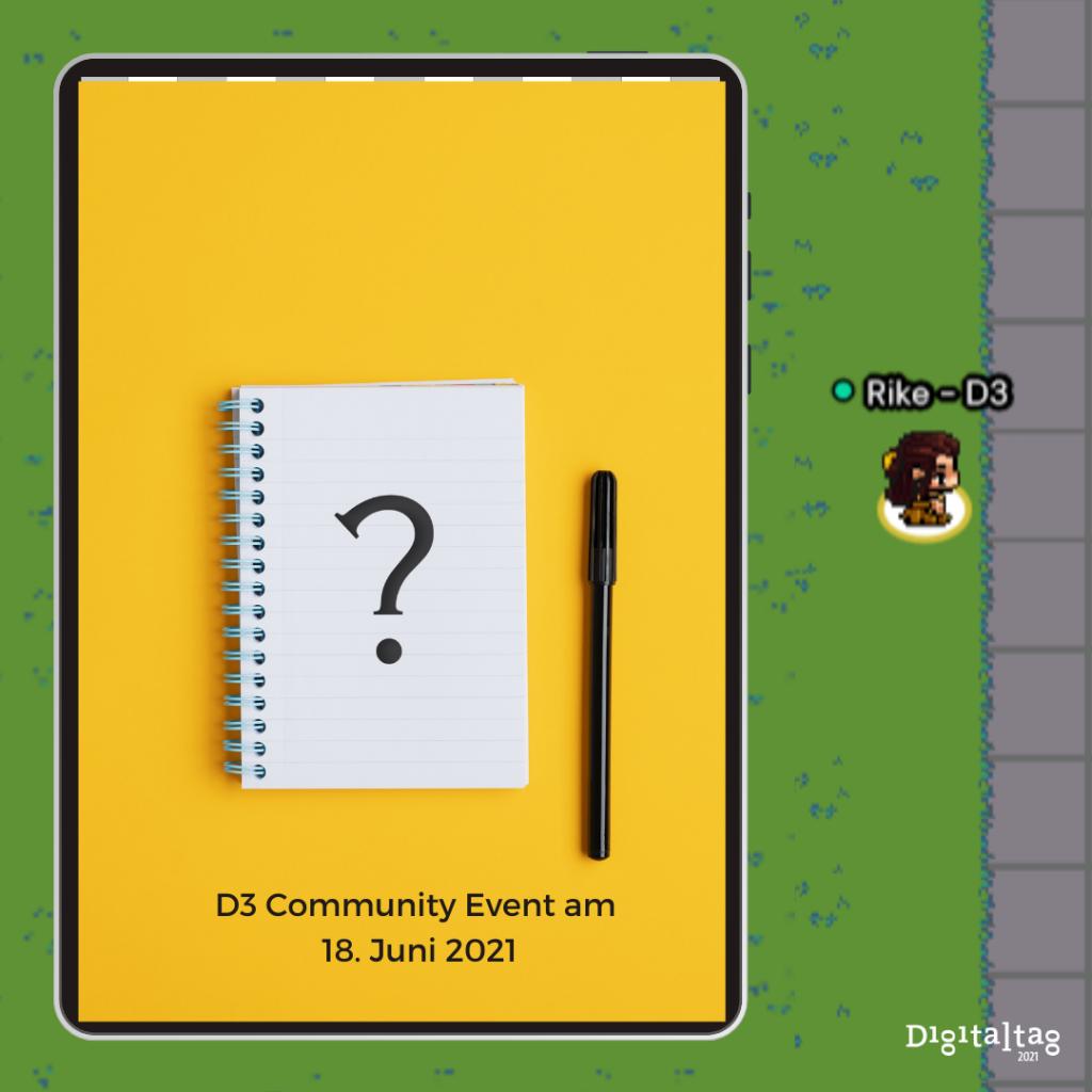 D3 Community Event: Bild mit Fragezeichen statt des Fotos des Referenten