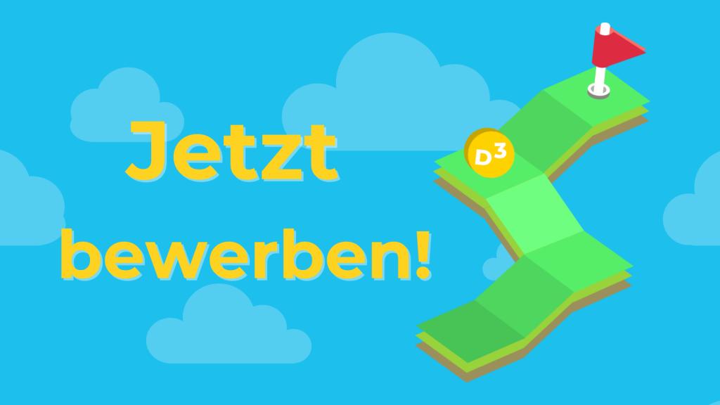 """Blaue Wolken im Hitnergrund. Davor Text: """"Level up. Jetzt bewerben!"""""""