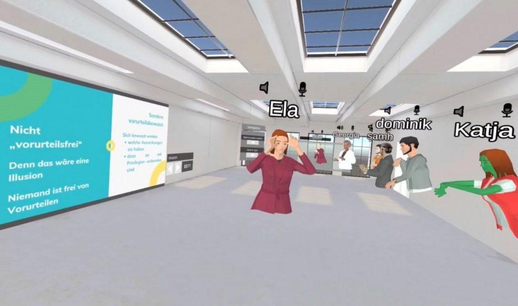 Screenshot der einen VR-Ausschnitt aus einem Workshop von BrückenBauen zeigt.