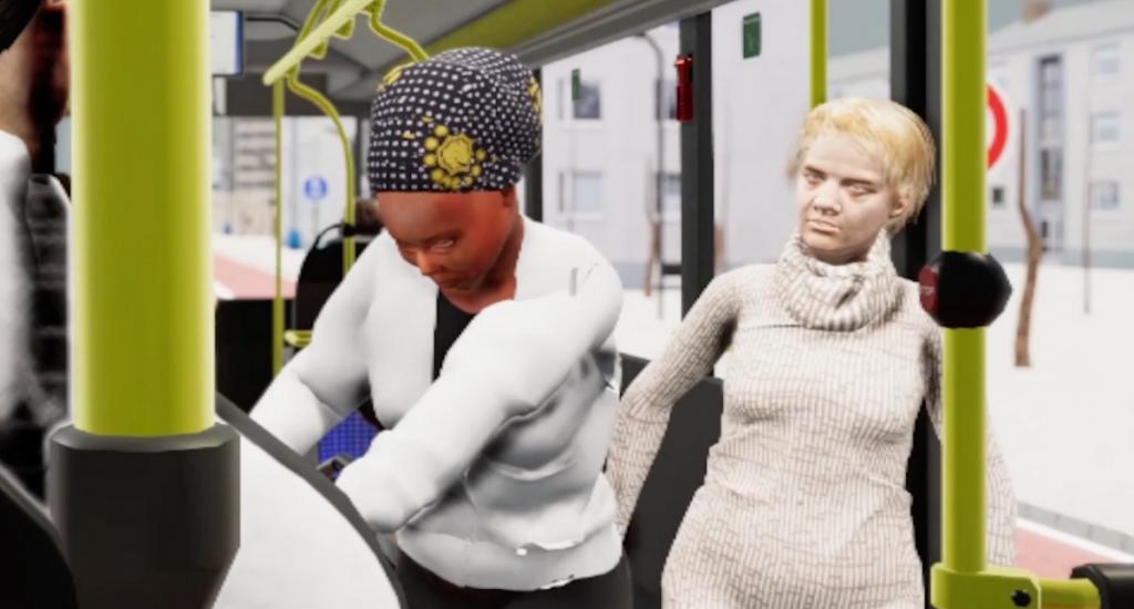Screenshot von AugenBLICK Mal!, der eine Virtual Reality-Situation zeigt, in der eine dunkelhäutige Frau im Bus rassistisch belästigt wird.