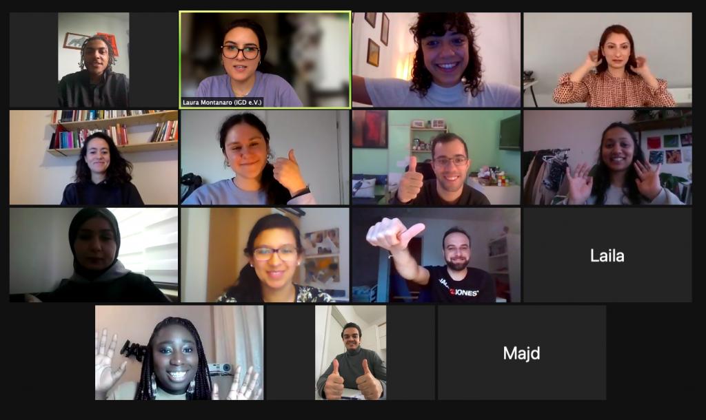 Screenshot eines Zoom-Meetings. Das Projekt Staepolsel bei der Civic Ideas Factory.