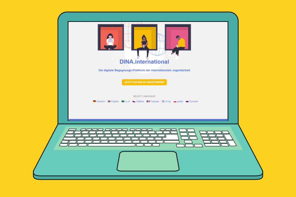 Gelber Hitnergrund, davor ein illustrierter PC. Darauf ist die Website von DINA.International geöffnet.