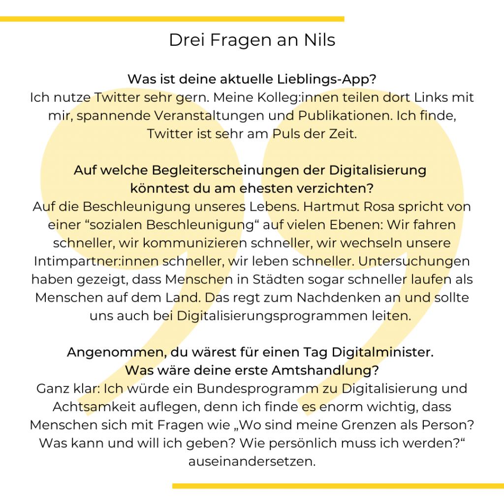 Drei Fragen an Nils Weichert. Textgrafik.